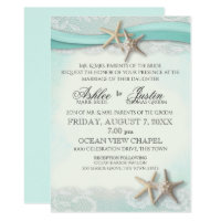 Starfish and Lace Beach Watercolor Aqua Wedding Invitation