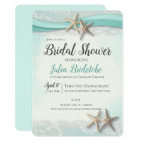 Starfish and Lace Bridal Shower Invitation