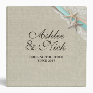 Starfish and Lace Look Printed Recipe Binder