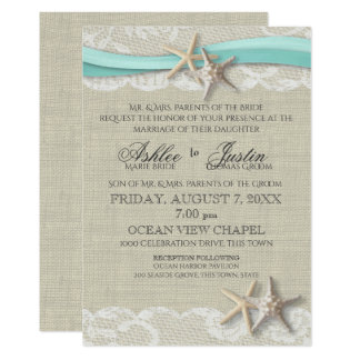 High Quality Starfish And Lace Rustic Beach Aqua Wedding Card