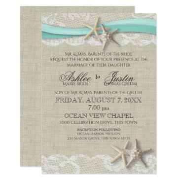 Beach Themed Starfish and Lace Rustic Beach Aqua Wedding Card
