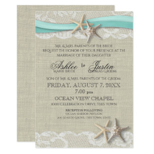 Starfish And Lace Rustic Beach Aqua Wedding Invitation