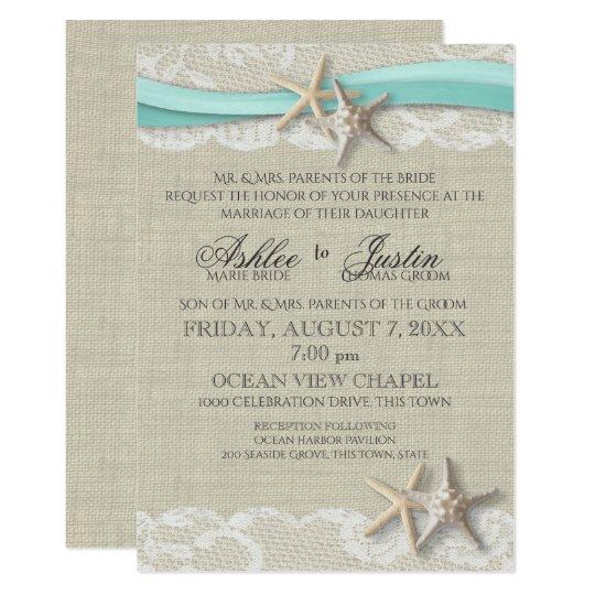 Beach Wedding Tropical Starfish & Waves Invitation