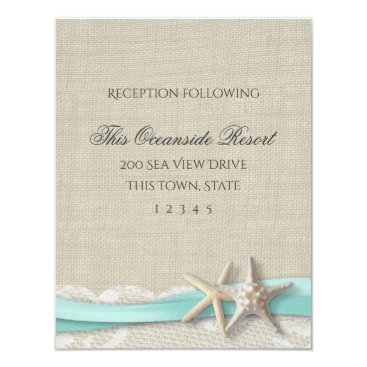 Beach Themed Starfish and Lace Rustic Beach Response Card
