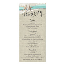 Starfish and Lace Rustic Beach Wedding Itinerary Rack Card