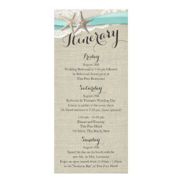 Beach Themed Starfish and Lace Rustic Beach Wedding Itinerary Rack Card