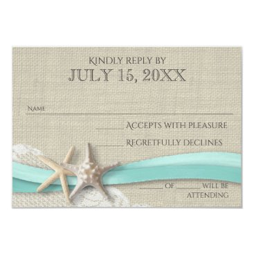 happygotimes Starfish and Lace Rustic Response Card