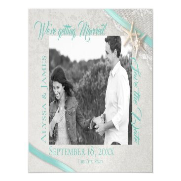 Beach Themed Starfish and Lace Save the Date Photo Magnetic Card