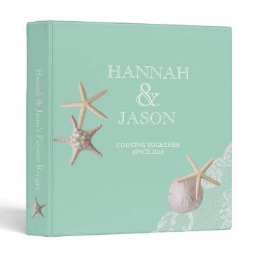 Beach Themed Starfish and Lace Seafoam Green Beach Recipes 3 Ring Binder