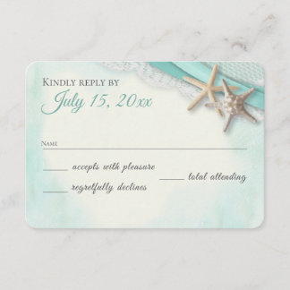Starfish and Lace Vintage Beach Response Card