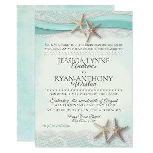 Starfish And Lace Vintage Beach Wedding Invitation