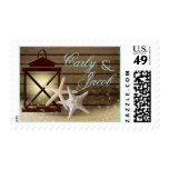Starfish and Lantern Nautical Ocean Wood Postage