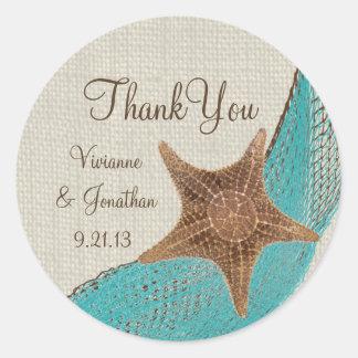 Starfish and Netting Round Stickers
