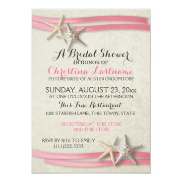 Beach Themed Starfish and Pink Ribbon Bridal Shower Card