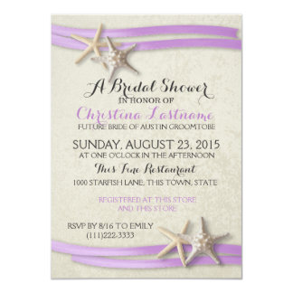 Starfish and Purple Ribbon Bridal Shower Card