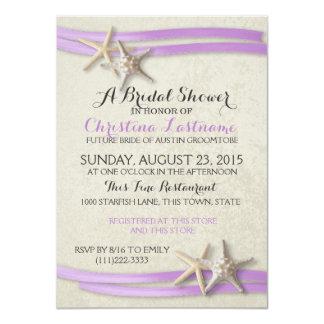 Starfish and Purple Ribbon Bridal Shower Card