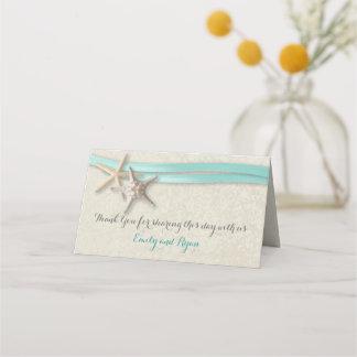 Starfish and Ribbon Aqua Beach Wedding Place Card