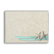 Starfish and Ribbon Aqua Envelope