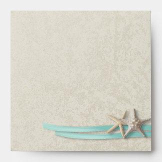 Starfish and Ribbon Aqua Envelope