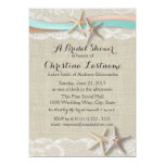 Starfish and Ribbon Aqua Peach Bridal Shower 5x7 Paper Invitation Card