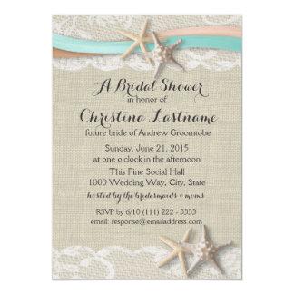 Starfish and Ribbon Aqua Peach Bridal Shower Invitation