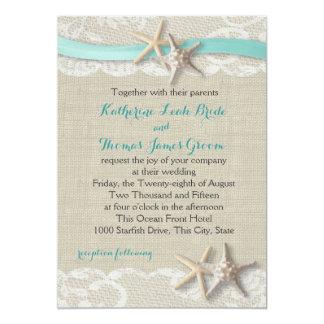 Starfish and Ribbon Beach Aqua Card