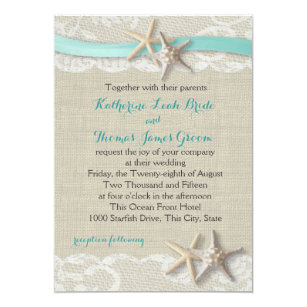 Starfish Wedding Invitations Announcements Zazzle