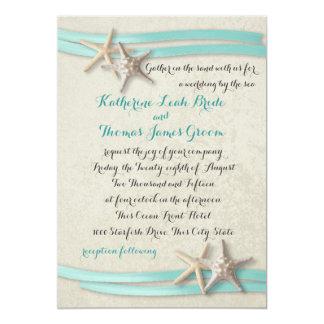 Starfish and Ribbon Beach Aqua 5x7 Paper Invitation Card