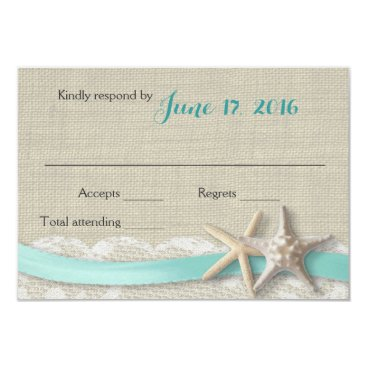 Beach Themed Starfish and Ribbon Beach Aqua RSVP Card