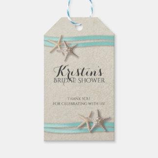 Starfish and Ribbon Beach Bridal Shower Gift Tags