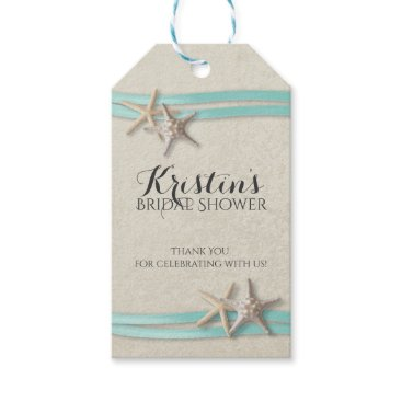happygotimes Starfish and Ribbon Beach Bridal Shower Gift Tags