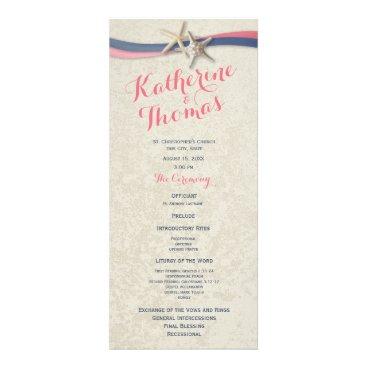 Beach Themed Starfish and Ribbon Beach Wedding Program