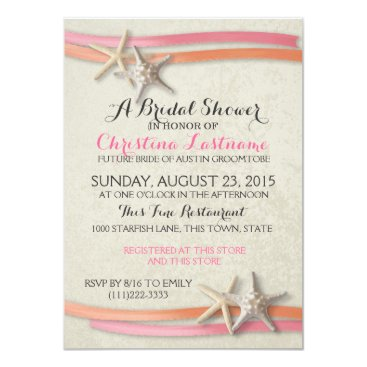 Beach Themed Starfish and Ribbon Bridal Shower Card