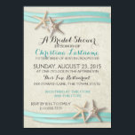 """Starfish and Ribbon Bridal Shower Card<br><div class=""""desc"""">Starfish and aqua ribbon beach theme bridal shower invitation.  Select a size and paper type and customize text as preferred.  Contact designer for coordinating products.</div>"""