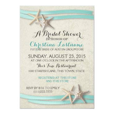 Beach Themed Starfish and Ribbon Bridal Shower Card