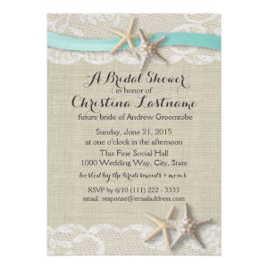Starfish and Ribbon Bridal Shower Personalized Invite