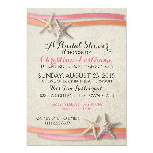 Starfish and Ribbon Bridal Shower Custom Invites