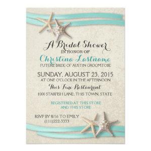Starfish and Ribbon Bridal Shower Custom Invitations
