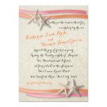 Starfish and Ribbon Coral and Pink 5x7 Paper Invitation Card