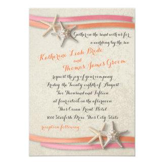 """Starfish and Ribbon Coral and Pink 5"""" X 7"""" Invitation Card"""