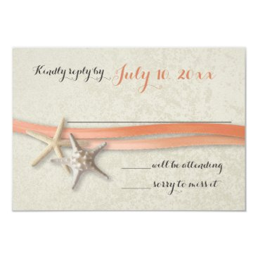 Beach Themed Starfish and Ribbon Coral Beach Response Card