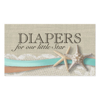 Starfish and Ribbon Diaper Insert Cards Business Card Template
