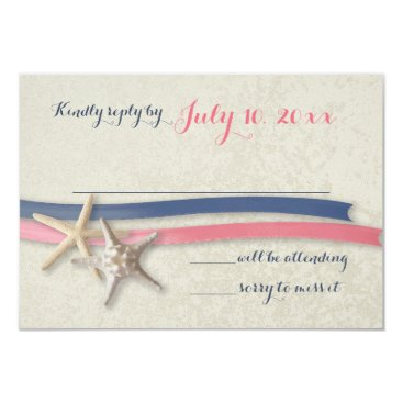 Beach Themed Starfish and Ribbon Navy and Pink Beach Response Card