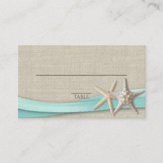 Starfish and Ribbon Place card Aqua