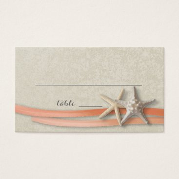 Beach Themed Starfish and Ribbon Place card Coral