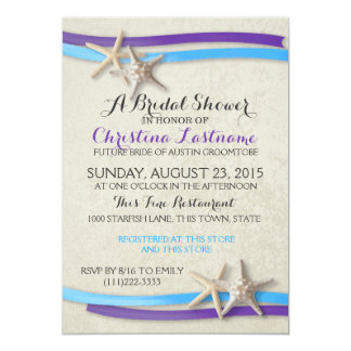 Starfish and Ribbon Purple and Blue Bridal Shower2 Card