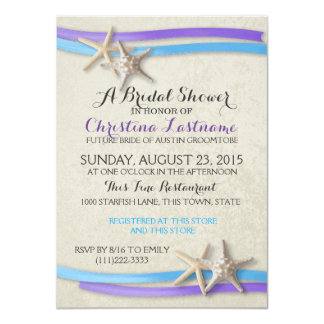 "Starfish and Ribbon Purple and Blue Bridal Shower 4.5"" X 6.25"" Invitation Card"