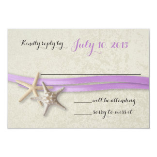 Starfish and Ribbon Purple Beach Response Card