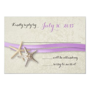 Beach Themed Starfish and Ribbon Purple Beach Response Card