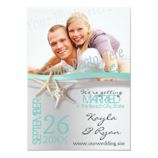 Starfish and Ribbon Save the Date with Photo Card